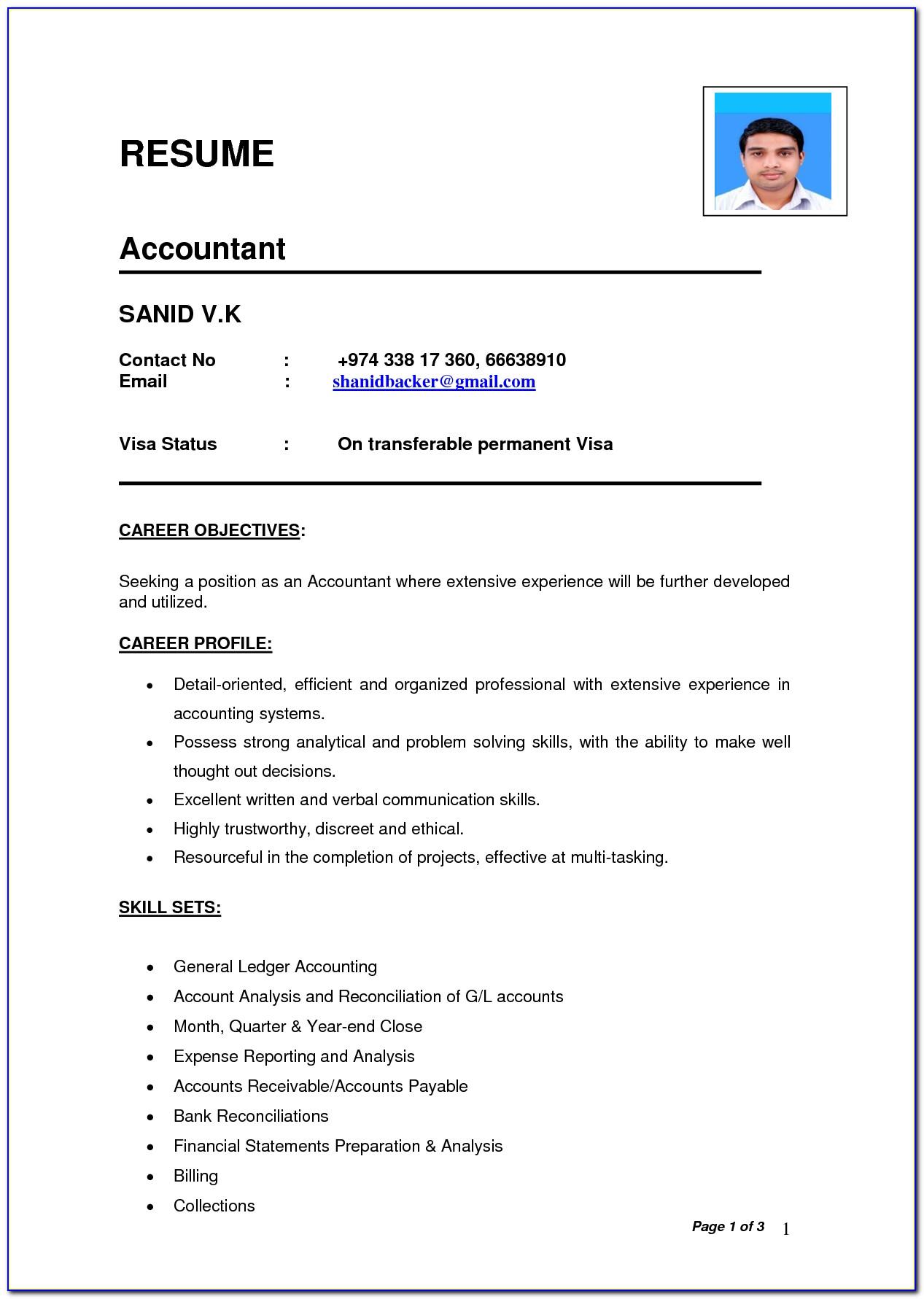 Resume Template Outline Format