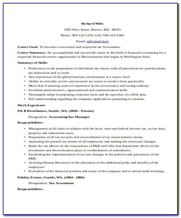 Resume Template Senior Accountant