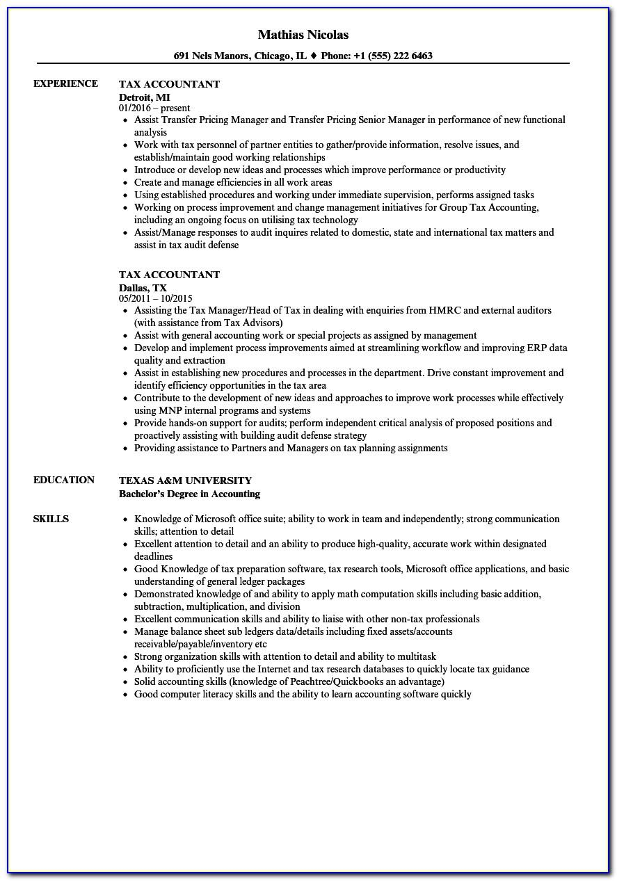 Resume Template Tax Accountant