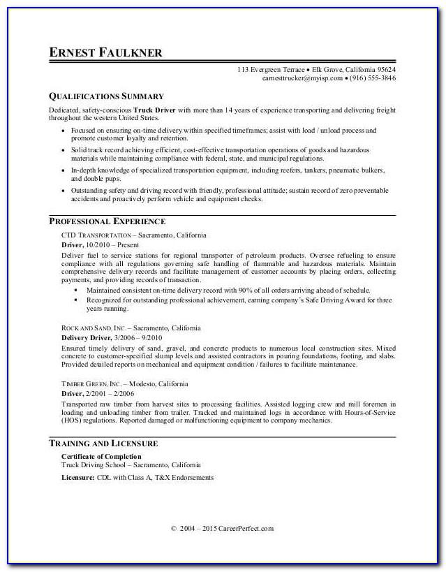 Resume Template Truck Driver Australia