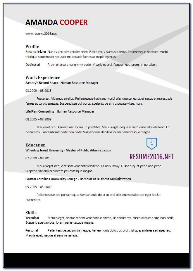 Resume Template Word 2010 Mac