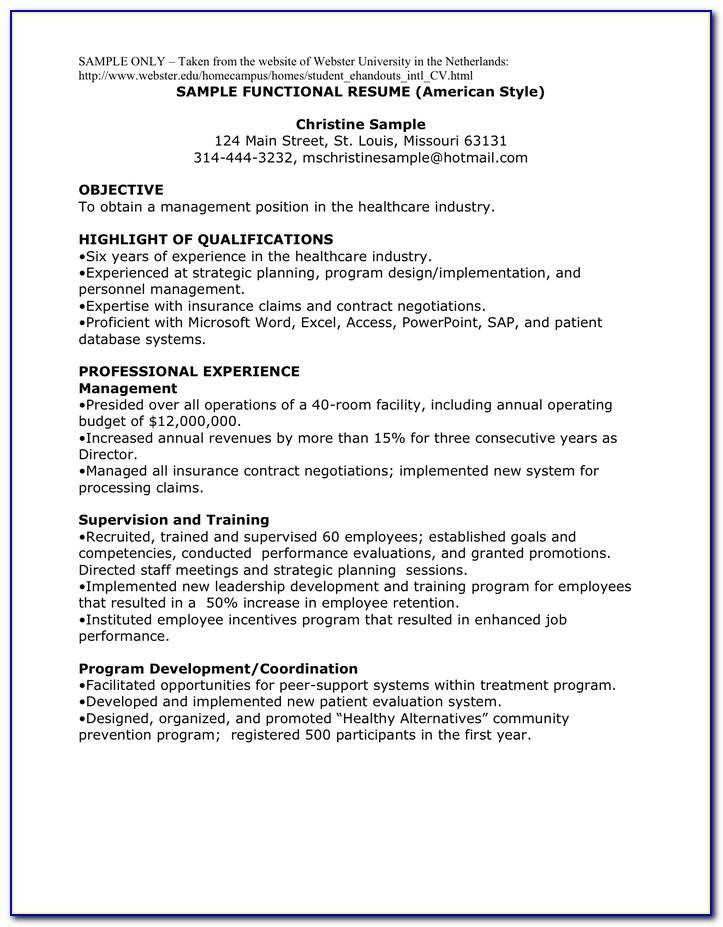 Resume Templates American Style