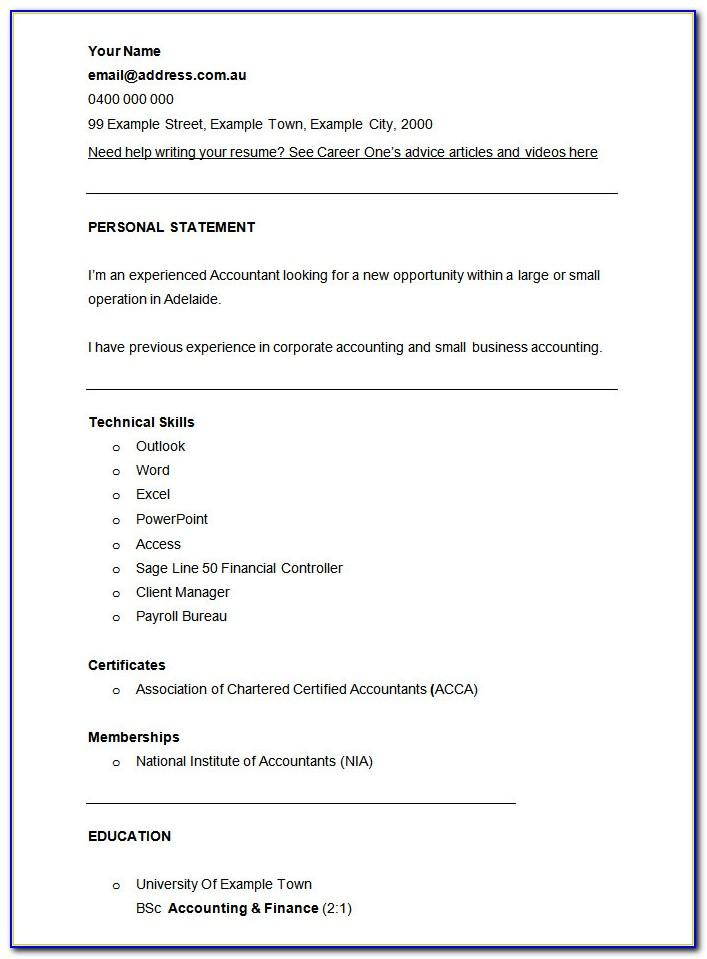 Resume Templates For Accountants