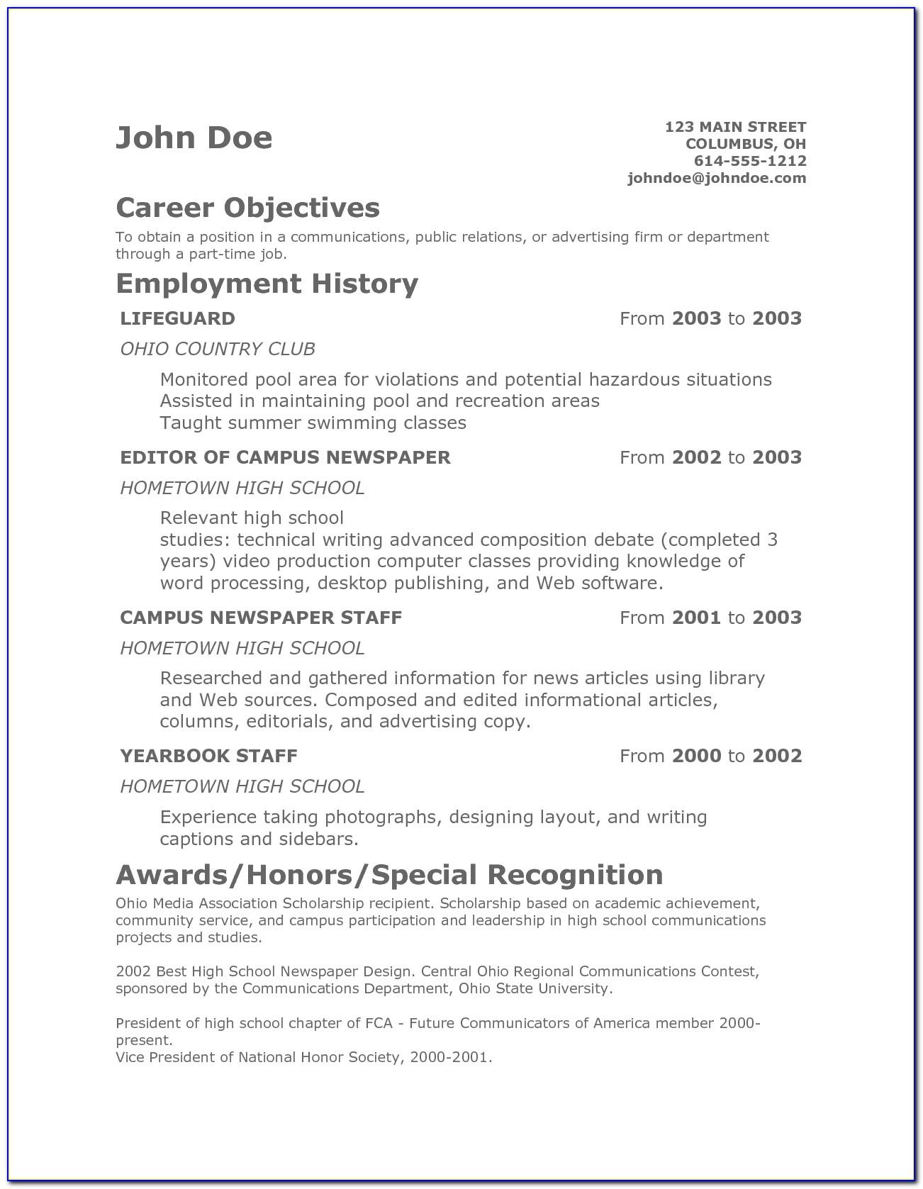 Resume Templates For Australian Government Jobs
