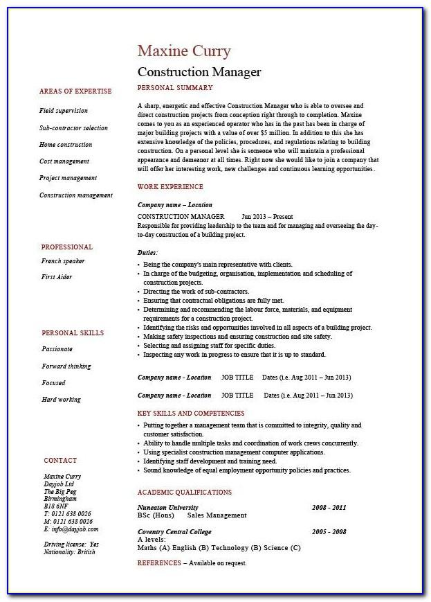 Resume Templates For Construction Industry