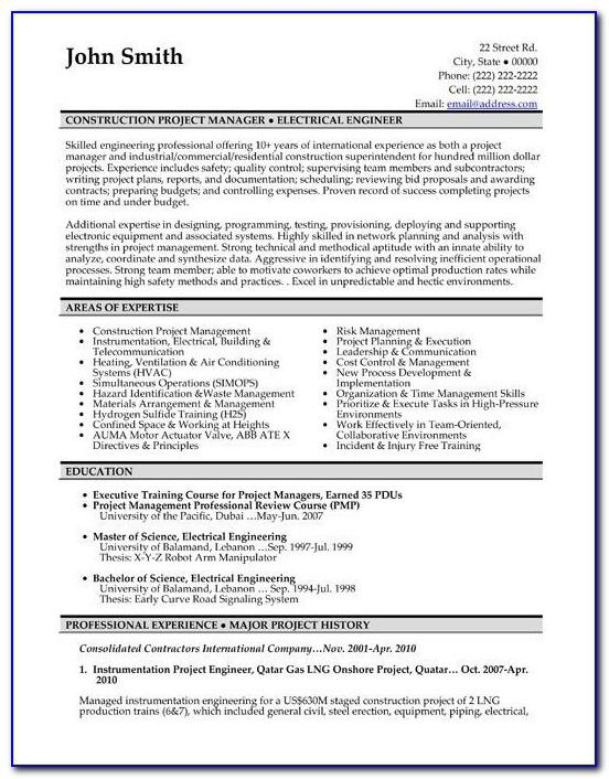 Resume Templates For Construction Jobs