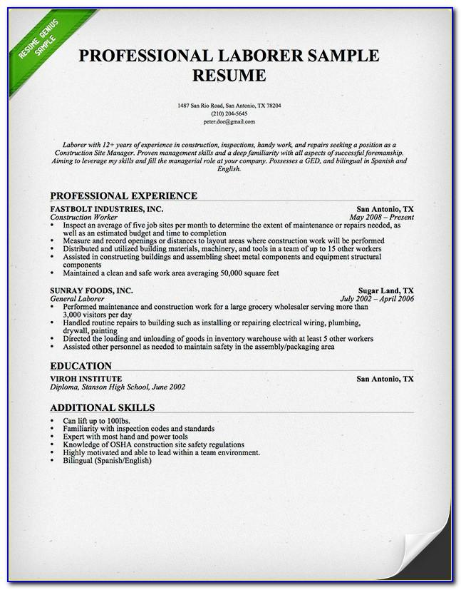 Resume Templates For Construction Professionals