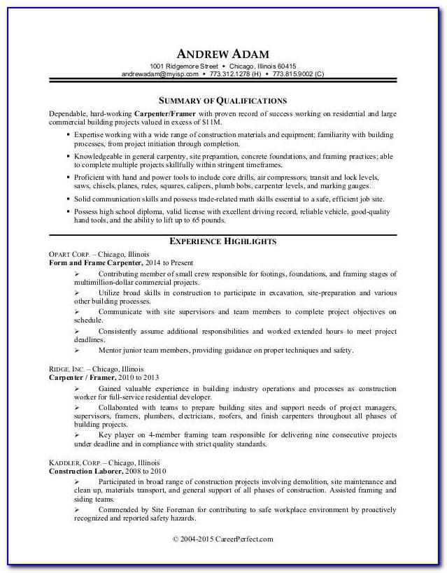 Resume Templates For Construction Project Manager