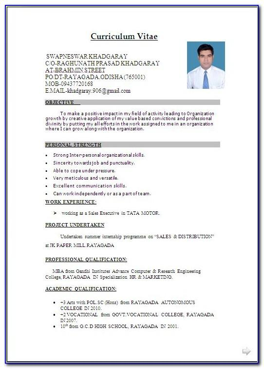 Resume Templates For Freshers Bcom