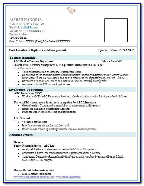 Resume Templates For Freshers In Word