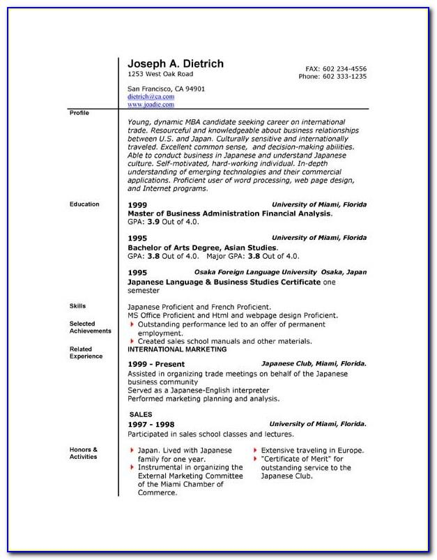 Resume Templates For Microsoft Word 2003
