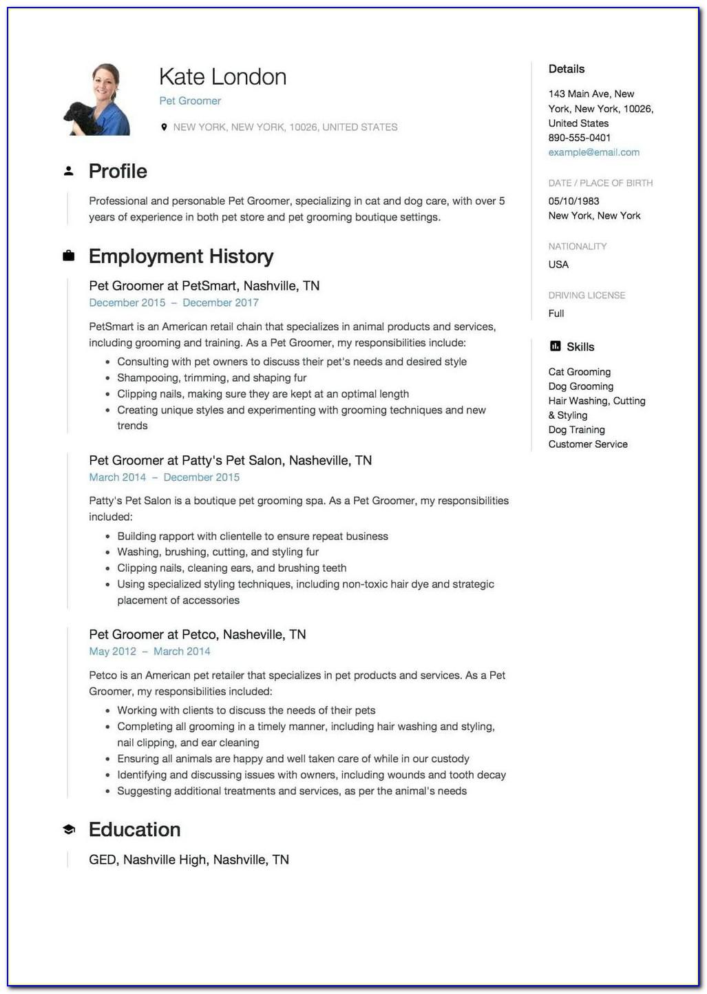 Resume Templates For Military Veterans