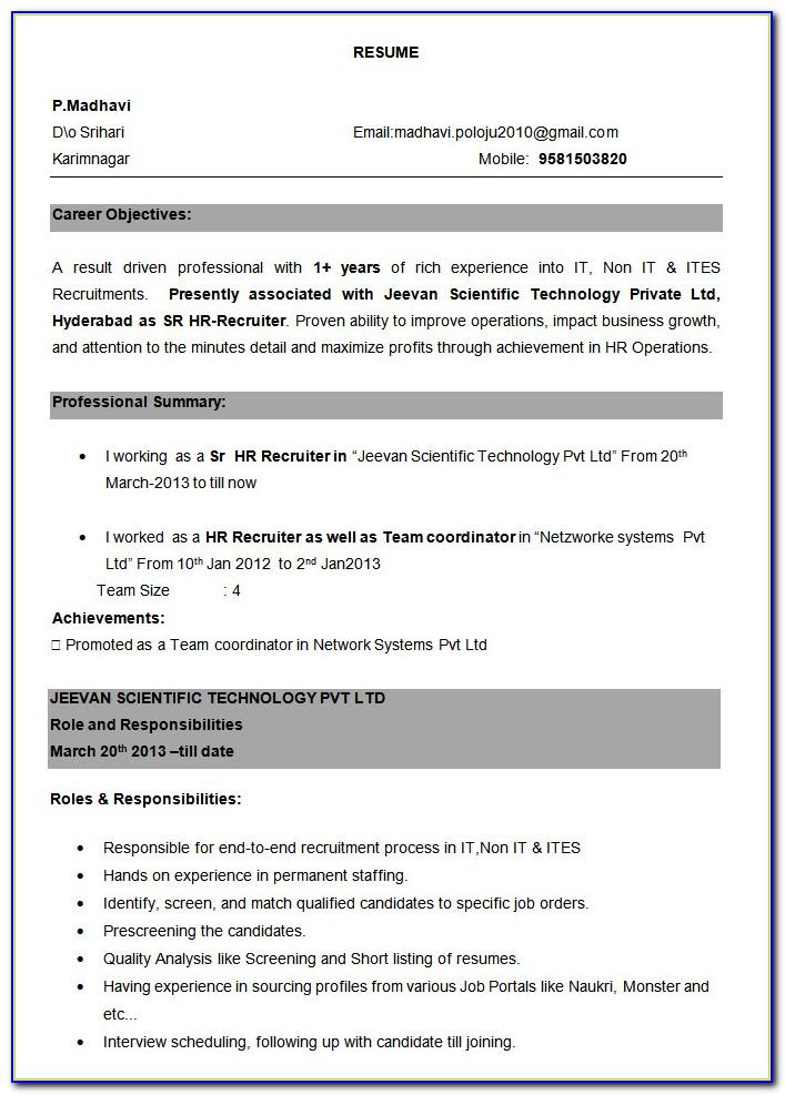 Resume Templates For Software Engineer Freshers