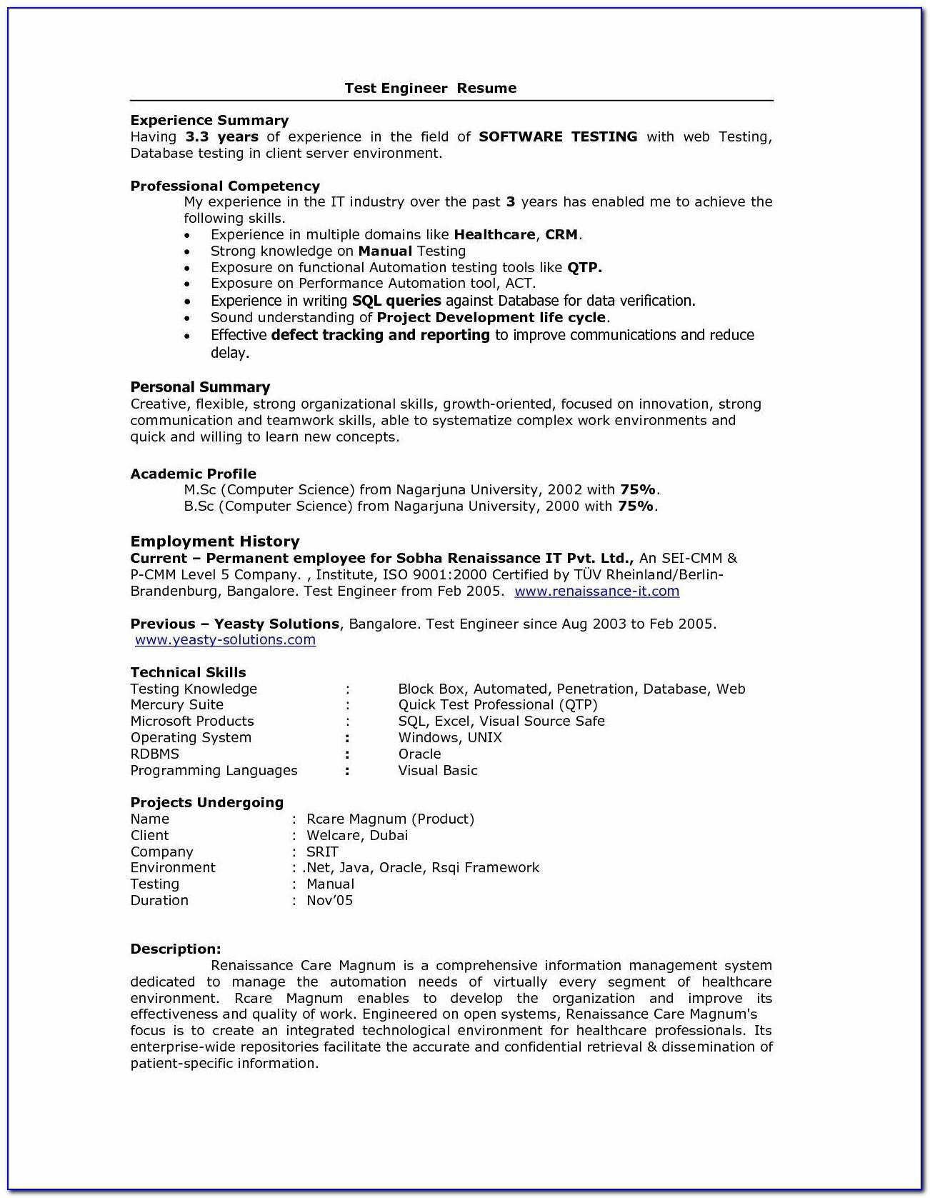 Resume Templates For Software Professionals