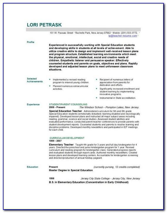 Resume Templates For Teaching Job