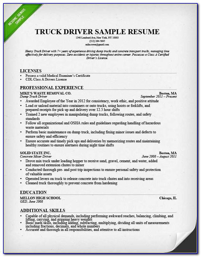 Resume Templates For Truck Driving