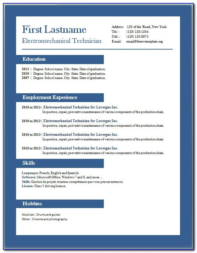 Resume Templates For Word 2007 Free