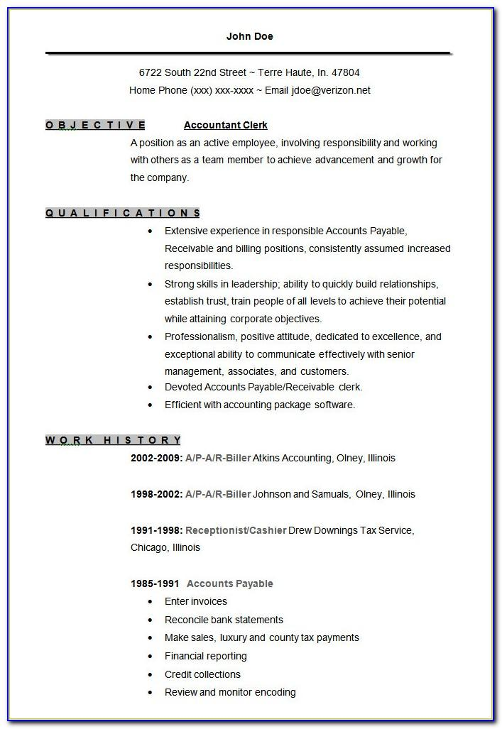 Resume Templates Free Accounting