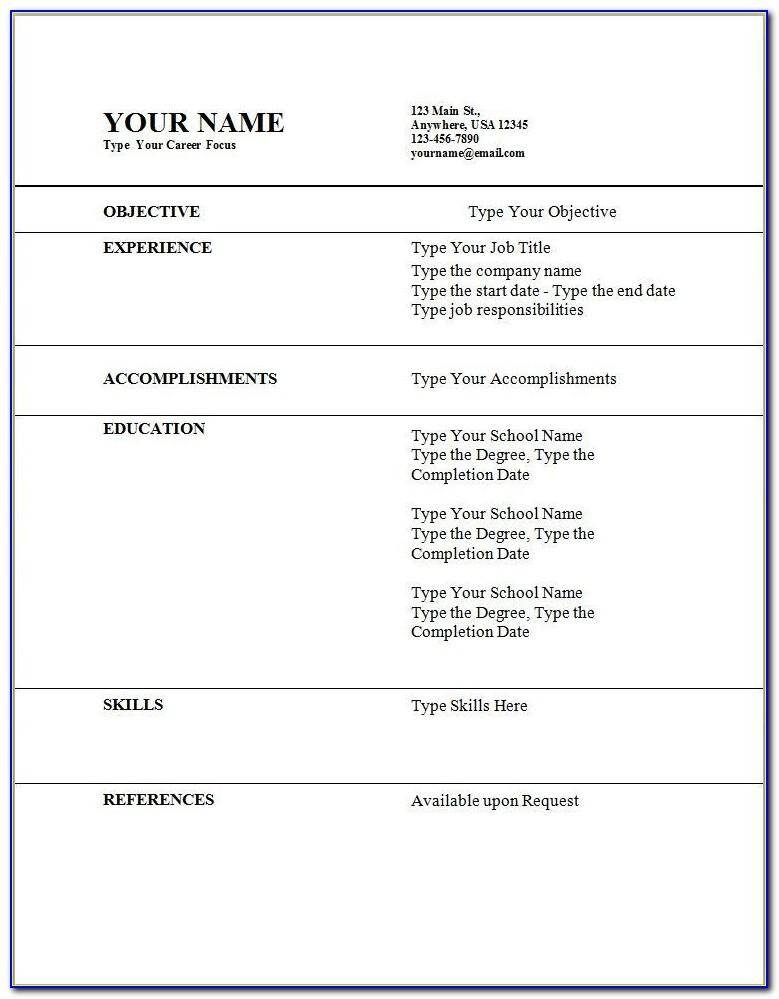 Resume Templates Wordpad Format