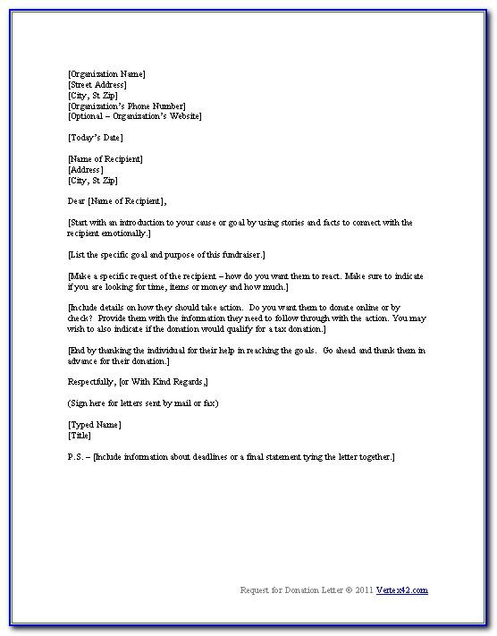 Sample Donation Request Letter For Non Profit Organization Pdf