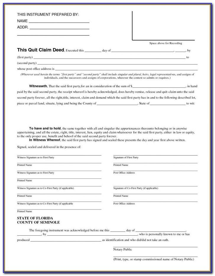 Sample Quit Claim Deed Form Michigan