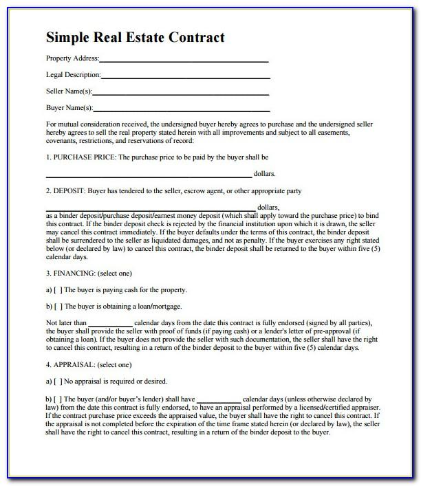 Sample Real Estate Purchase Agreement Indiana