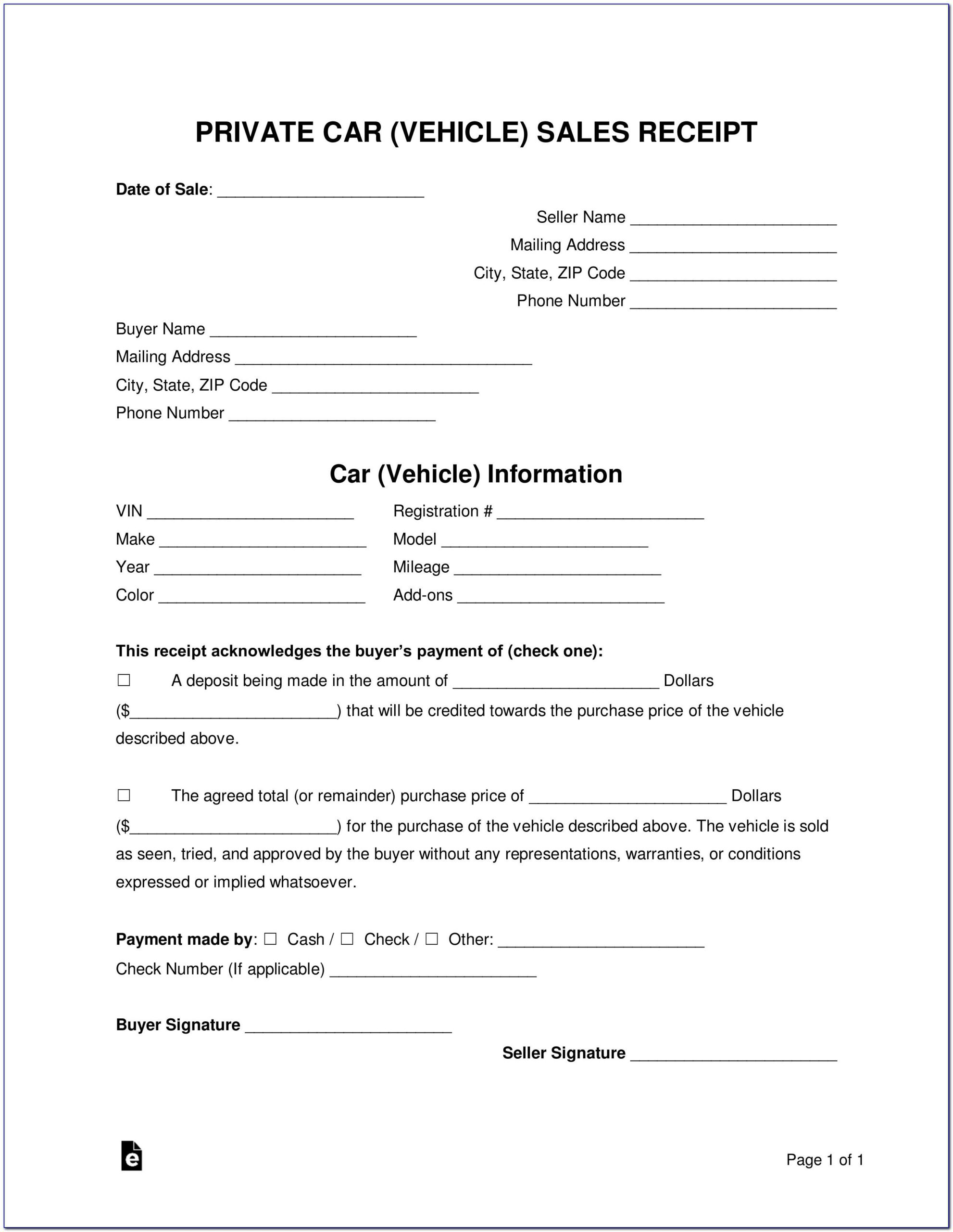 Sample Receipt For Used Car Sale