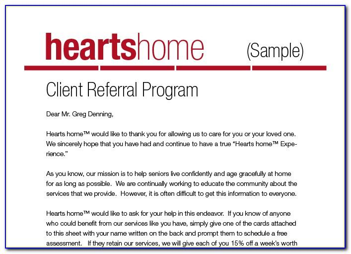 Sample Referral Fee Agreement Letter