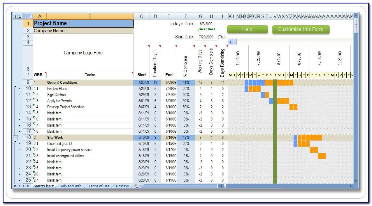 Sample Residential Construction Schedule Excel