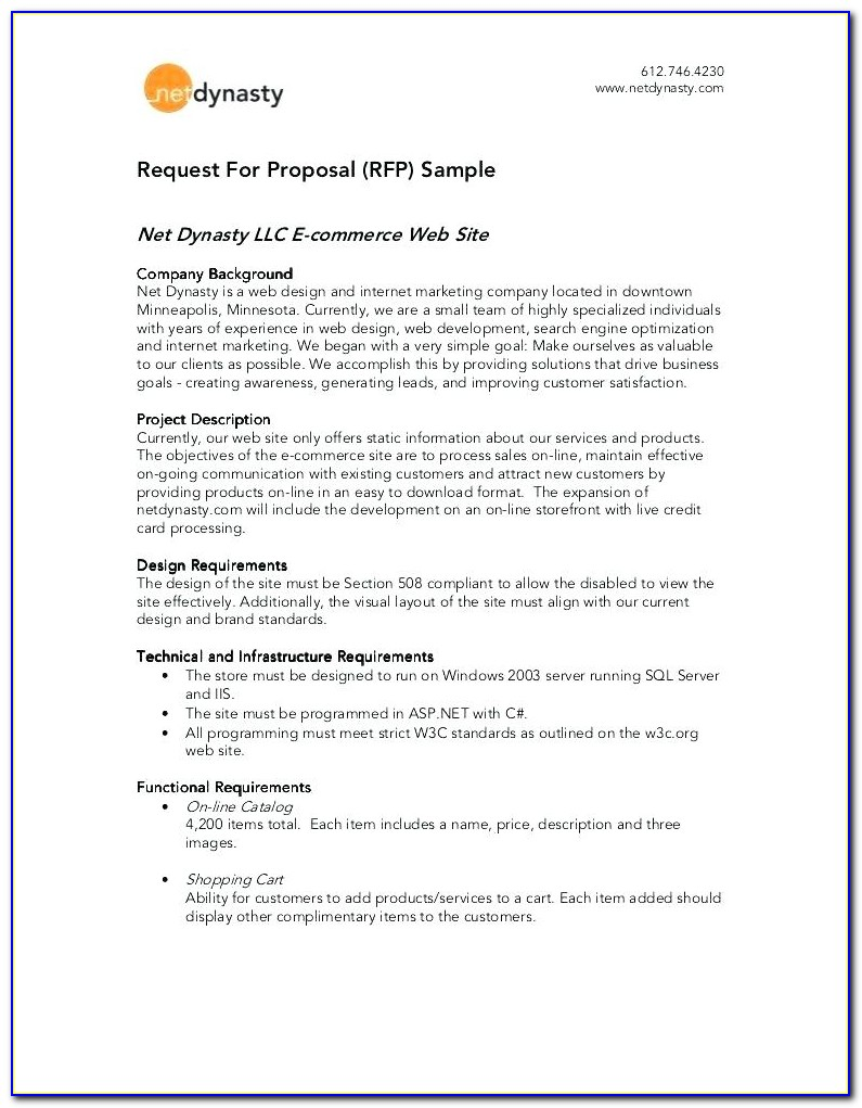 Sample Response To Rfp Proposals