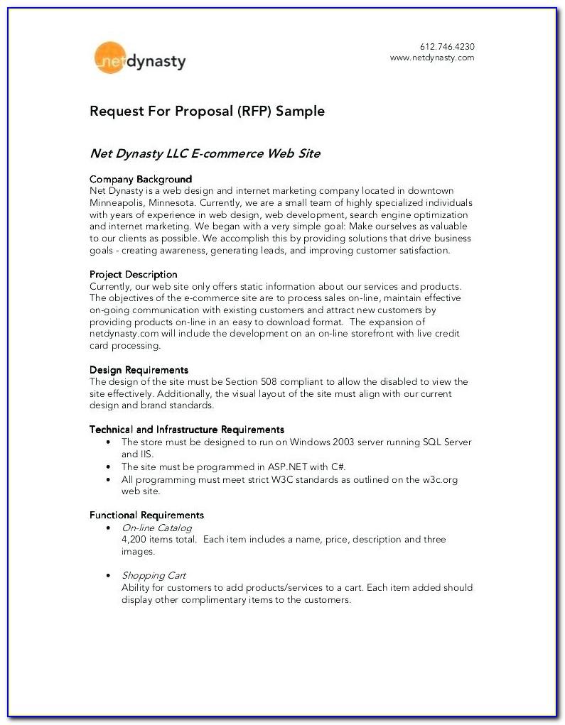 Sample Response To Rfp Proposals
