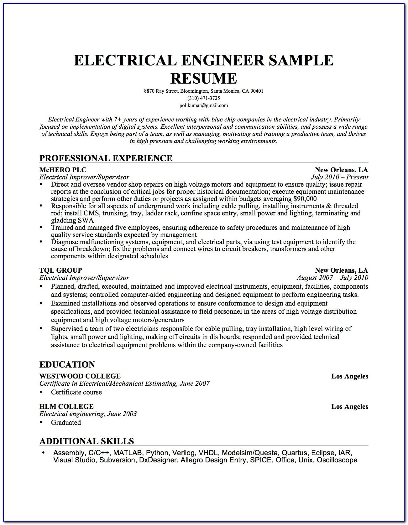 Sample Resume Electrical Maintenance Engineer India