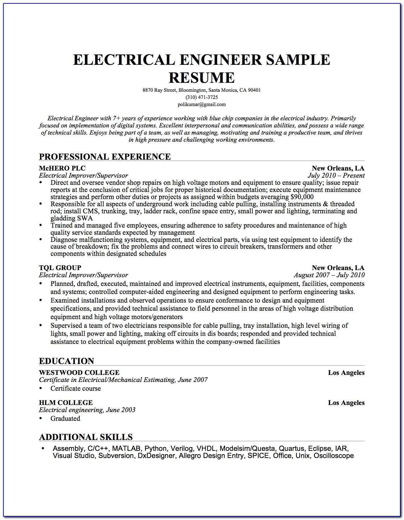 Sample Resume Electrical Maintenance Engineer India