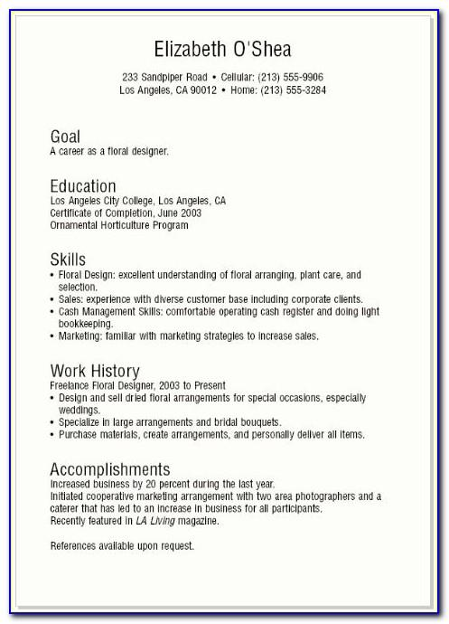 Sample Resume For A Teenager With No Work Experience