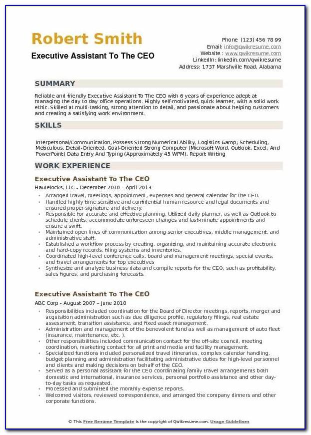 Sample Resume For Executive Assistant Office Manager
