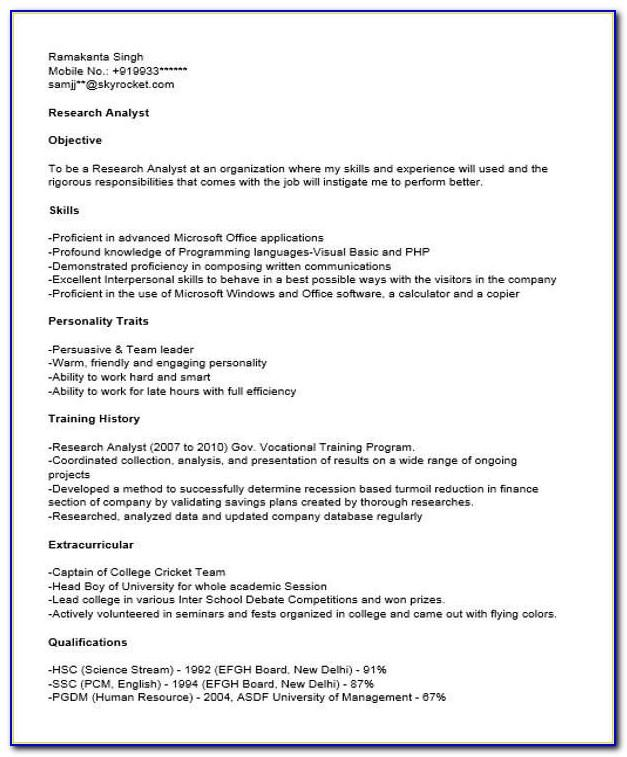 Sample Resume For Financial Reporting Analyst