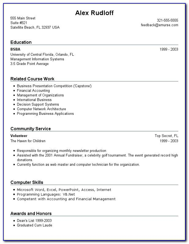 Sample Resume For First Job No Experience