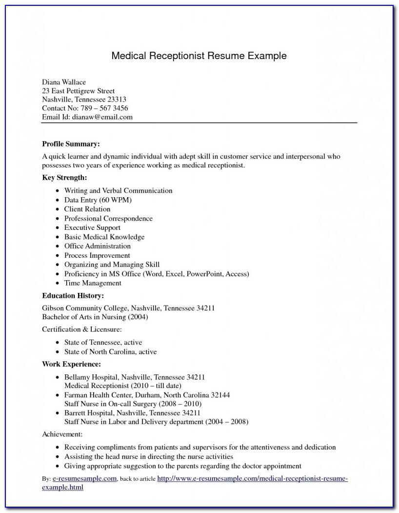 Sample Resume For Medical Assistant Student