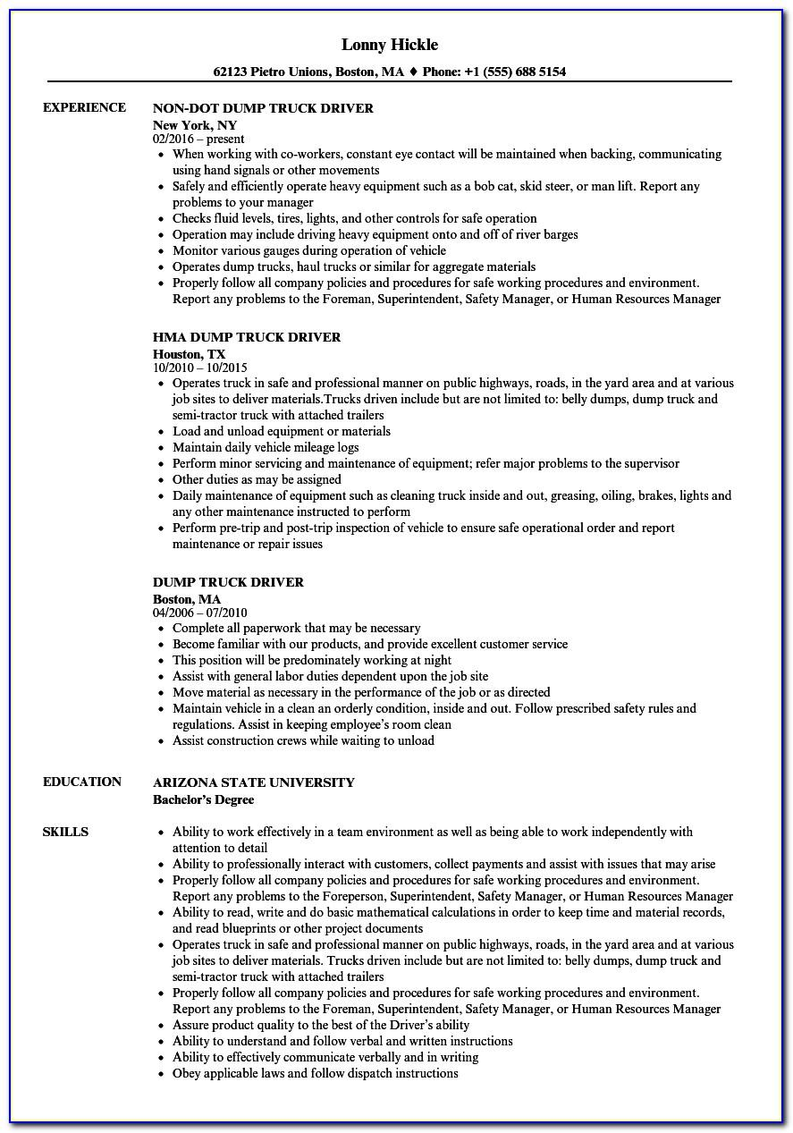Sample Resume For Truck Driver In Canada