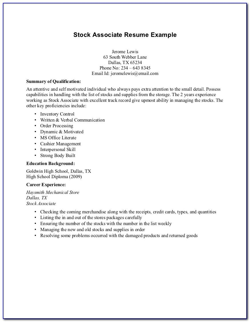 Sample Resume Format For Construction Worker