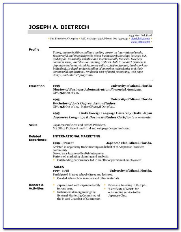Sample Resume Format For Students With No Work Experience