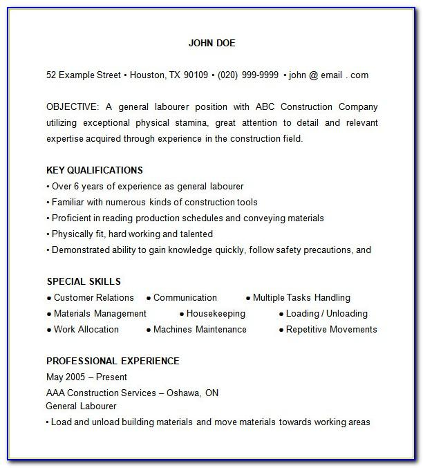 Sample Resume Objectives For Construction Worker