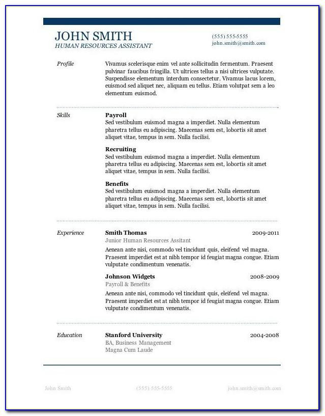 Sample Resume Template Microsoft Word