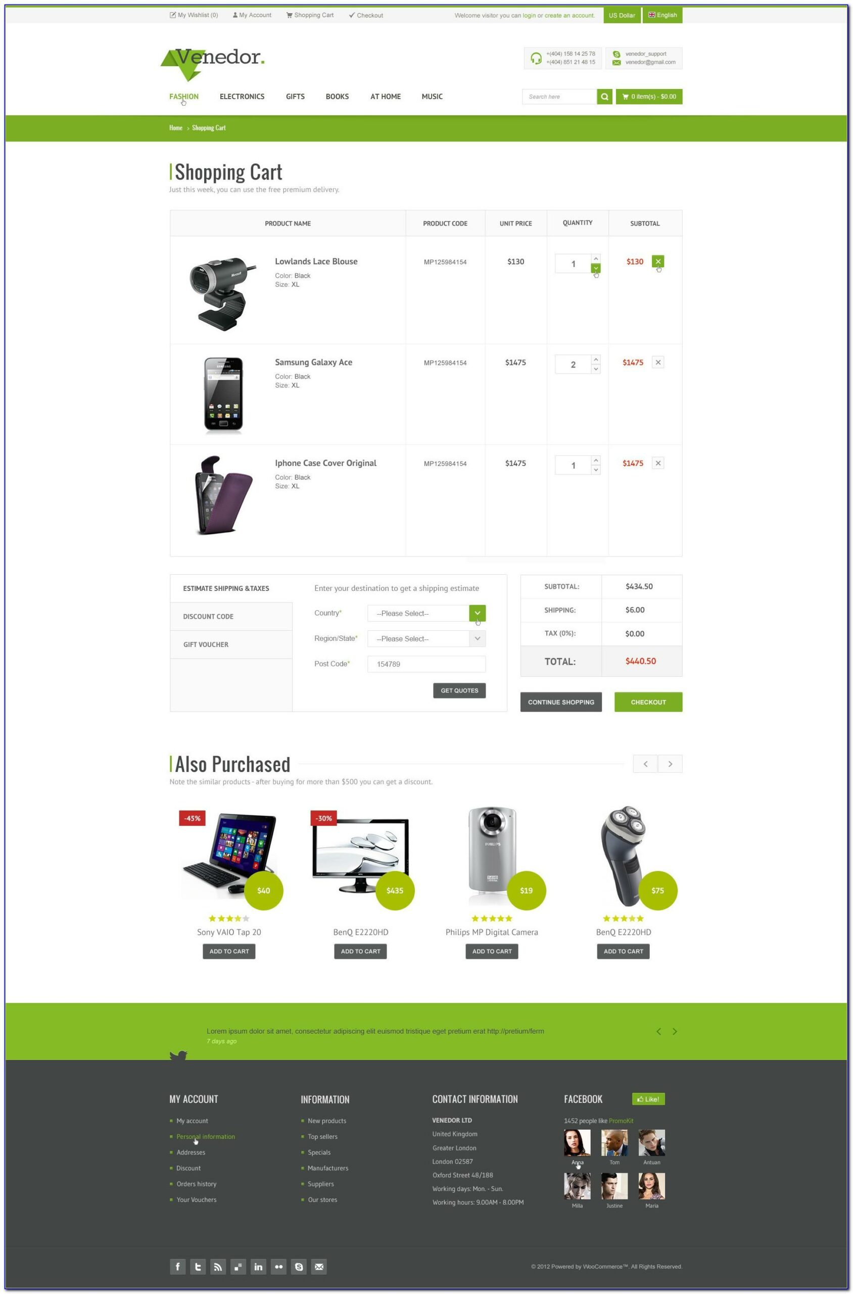Shopping Cart Responsive Website Templates Free Download