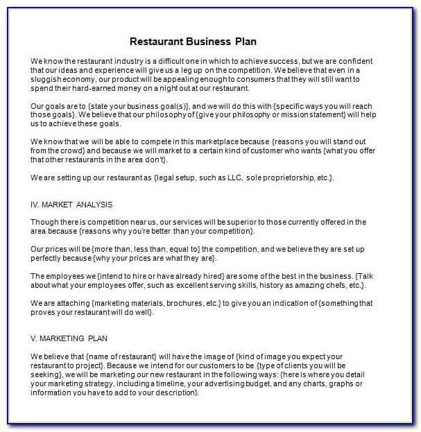 Simple Restaurant Business Plan Template Pdf