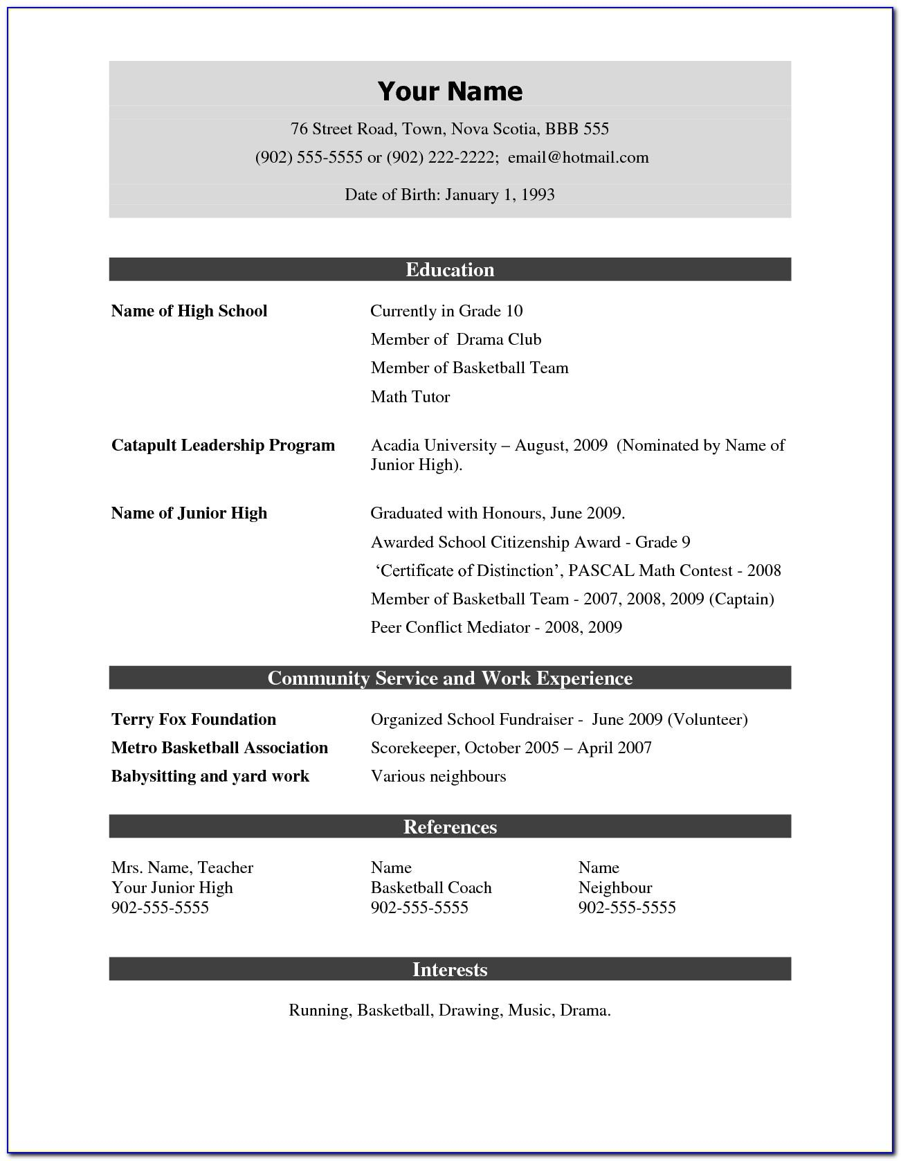 Simple Resume Template Pdf Download