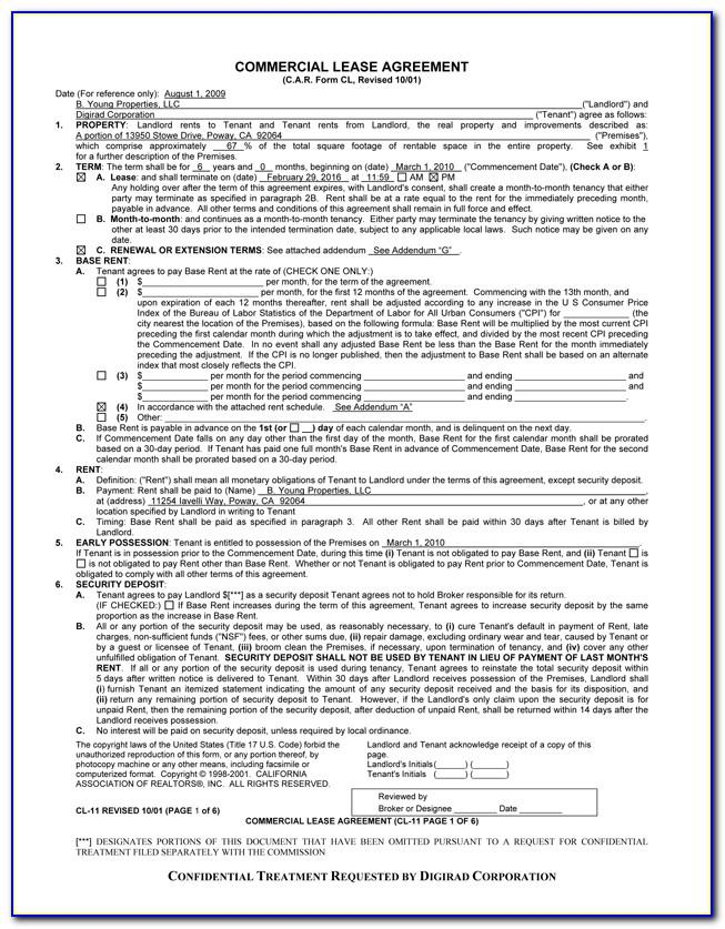 Texas Real Estate Commission Lease Agreement