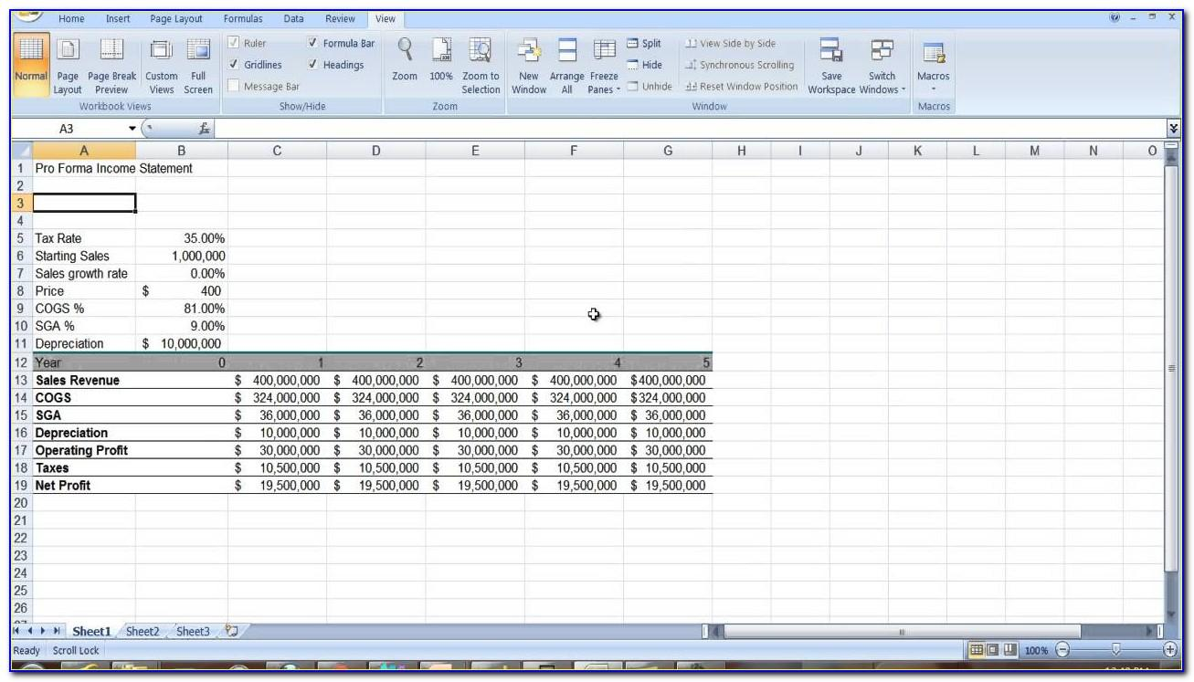 5 Year Pro Forma Income Statement Template Excel