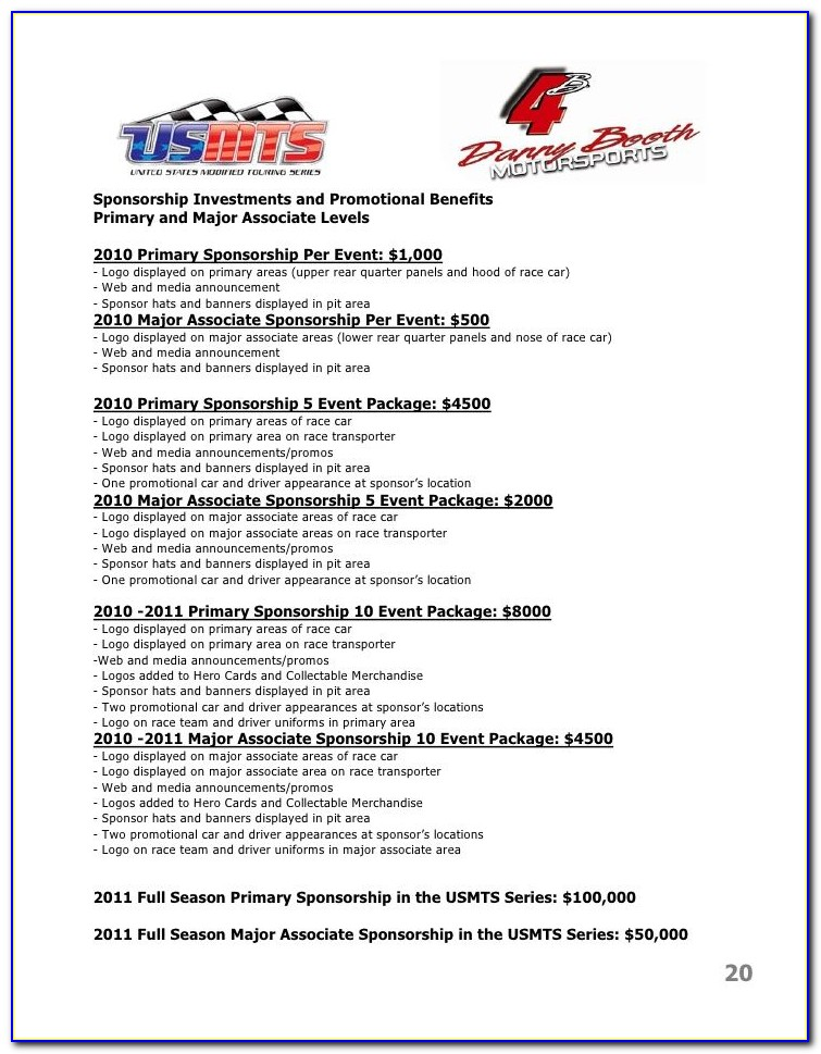 Auto Racing Sponsorship Proposal Template
