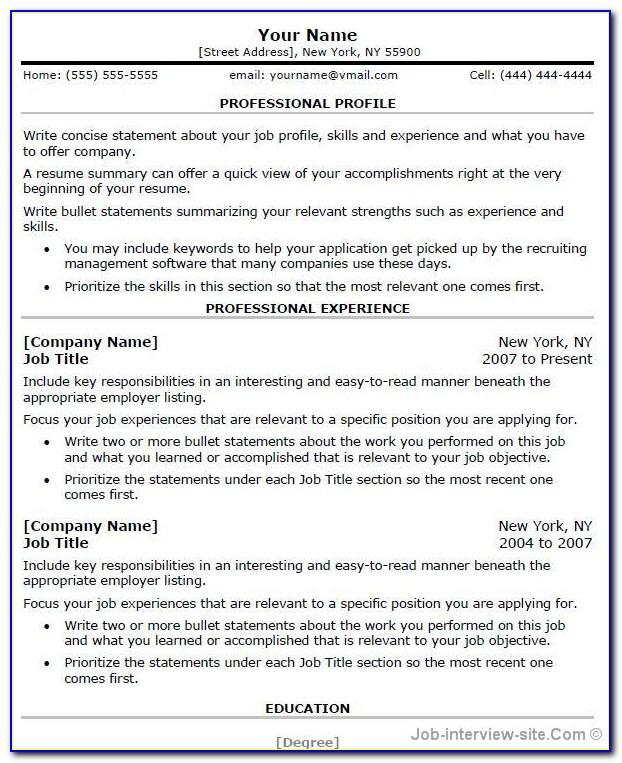 Best Professional Resume Templates For Freshers